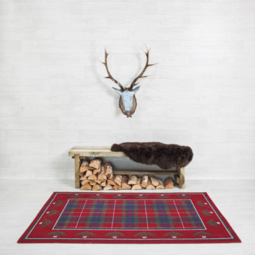 Fraser Modern Thistle Border Rug Bespoke Sizes
