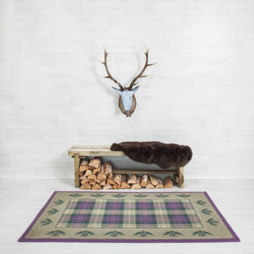 Heather Green Thistle Border Rug